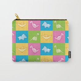 Colorful dinosaurs and pterodactyl cheater quilt Carry-All Pouch
