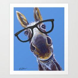 Donkey With Glasses Art, Blue Donkey Art Print