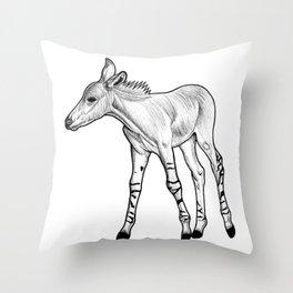 Somali Wild Ass foal - ink illustration Throw Pillow