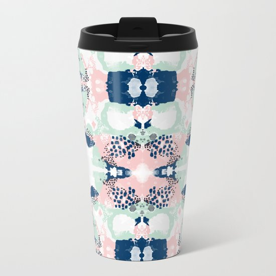 Kimmie - abstract painting modern hipster trendy urban city painterly boho home college dorm decor  Metal Travel Mug