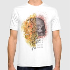 Lady and a skull Mens Fitted Tee White MEDIUM