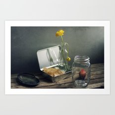 Still life with faded flowers Art Print