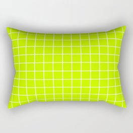 Bitter lime - green color - White Lines Grid Pattern Rectangular Pillow