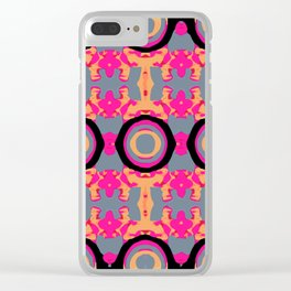 psychedelic graffiti skull head in pink and orange with grey background Clear iPhone Case