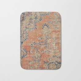 Vintage Woven Navy and Orange Bath Mat
