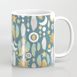 Bohemian spirit // dark turquoise background Coffee Mug