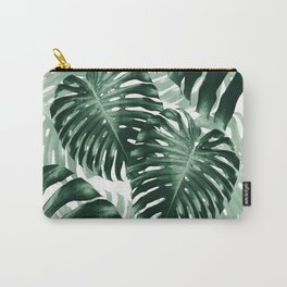 Tropical Monstera Jungle Leaves Pattern #1 #tropical #decor #art #society6 Carry-All Pouch