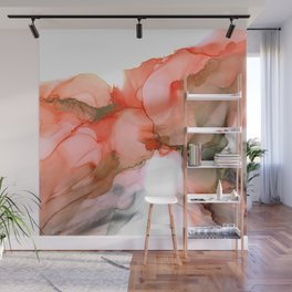 Valencian Kiss - abstract kiss, orange, gray, white, modern, fluid paint, ink, marble Wall Mural