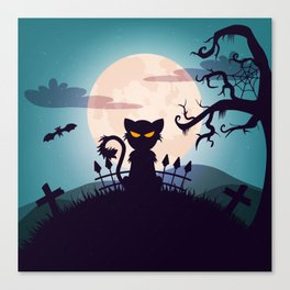 Cat in The Moon light Canvas Print