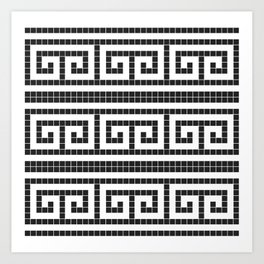 Black & white modern greek motifs tiles pattern Art Print