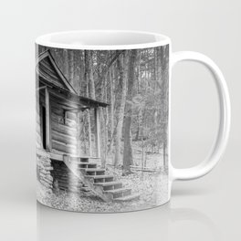 Cabin in the Woods in BW Coffee Mug