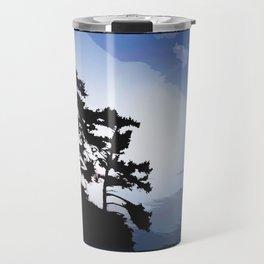 TWO WINDSWEPT DOUGLAS FIR ON THE SHORELINE Travel Mug