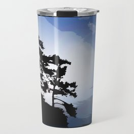 TWO WINDSWEPT DOUGLAS FIR ON THE SHORELINE Travel Mug