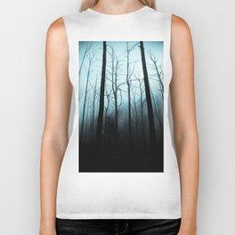 Scary Haunting Halloween Dark Forest Barren Trees Blue Background Biker Tank