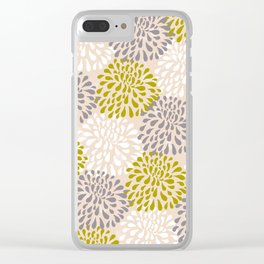Abstract Petals in Yellow and Gray Clear iPhone Case