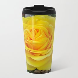 Head On View Of A Yellow Rose With Garden Background Travel Mug