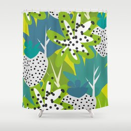 White strawberries and green leaves Shower Curtain