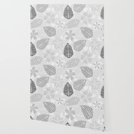 Leaf Floral Print in Black, White and Gray Wallpaper