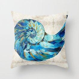 Tropical Blue Beach Art - Nautilus Shell Bleu 2 - Sharon Cummings Throw Pillow