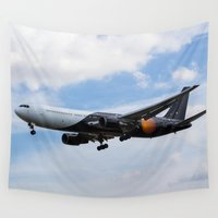 attack on titan Wall Tapestries featuring Titan Airways Boeing 767 by David Pyatt