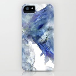 Soft abstract blue paint splotches iPhone Case