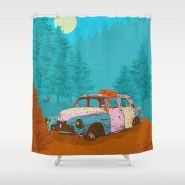 FOX & OLD RUSTY CAR Shower Curtain