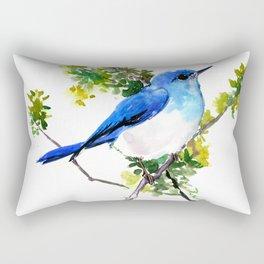 Mountain Bluebird, blue bird, art design blue green cottege Rectangular Pillow
