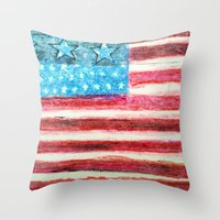 american flag Throw Pillows featuring American Flag by Brontosaurus