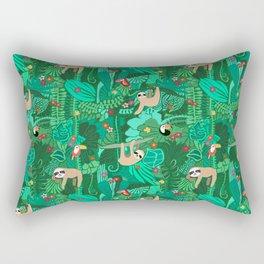 Sloths in the Emerald Jungle Pattern Rectangular Pillow