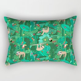 Sloths in the Emerald Jungle Pattern Rectangular Pillow