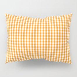 Pumpkin Orange and White Gingham Check Plaid Pillow Sham