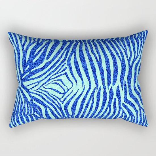 Blue Glitter Zebra Print Rectangular Pillow