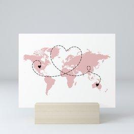 Australia to USA Long Distance World Map in Pink Mini Art Print