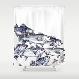"""""""Old School"""" Striped Bass  Shower Curtain"""