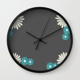 Gray,blue flowers Wall Clock