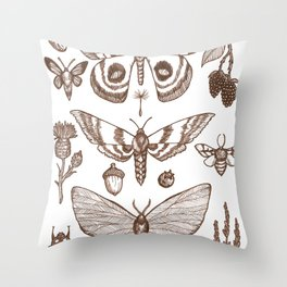 Natural History (Brown) Throw Pillow