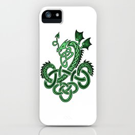 Celtic Knotwork Dragon Green iPhone Case