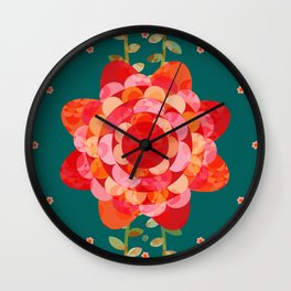 Red Climbing Roses on Warm Teal (pattern) Wall Clock
