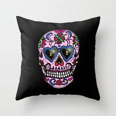 Sugar Skull, Hearts Throw Pillow