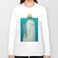 art deco Long Sleeve T-shirts featuring The Whale  by Terry Fan