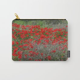 Beautiful Red Wild Anemone Flowers In A Spring Field  Carry-All Pouch