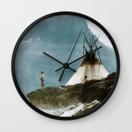 Echoes Call - American Indian Camp Wall Clock