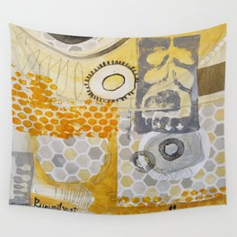 Golden Yellow Collage Wall Tapestry