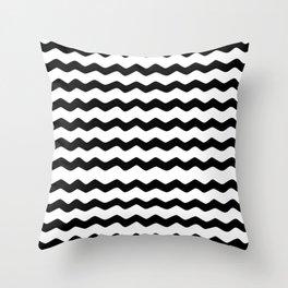 Black and White Zig Zag Pattern Throw Pillow