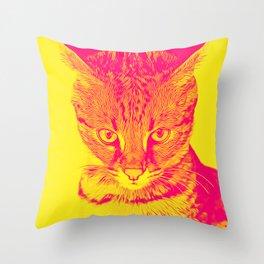 savannah cat portrait vayp Throw Pillow