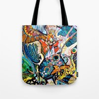 phoenix Tote Bags featuring Phoenix by Dawn Patel Art