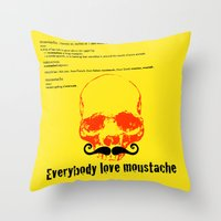 moustache Throw Pillows featuring Moustache by morganPASLIER