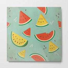 Vintage Watermelon Pattern Metal Print