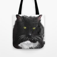 xena Tote Bags featuring Cat Xena Warrior Princess by Adrian Preciado