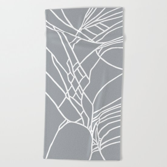 Cracked White on Grey Beach Towel